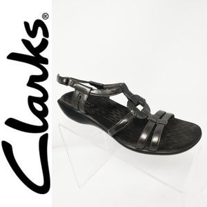 Privo by Clarks Pewter Silver Leather Strappy 8
